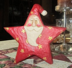 The carved Santa was a gift from my friend Leeanna