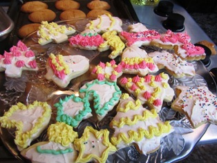 Sugar cookies iced in pastel colors