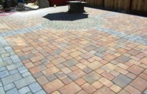 This patio floor that my husband recently laid required several stone shapes and two colors--gray and terra cotta