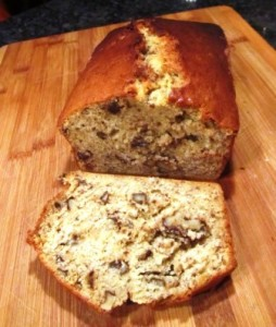 Warm, heavy, dense, and moist characterize this traditional loaf of banana nut bread