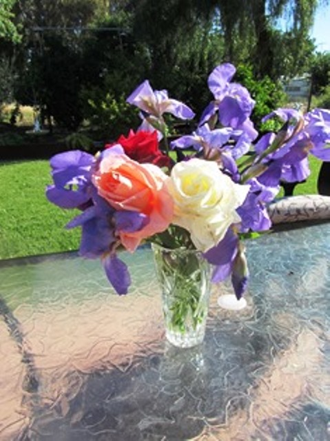Irises and roses make a lovely spring bouquet