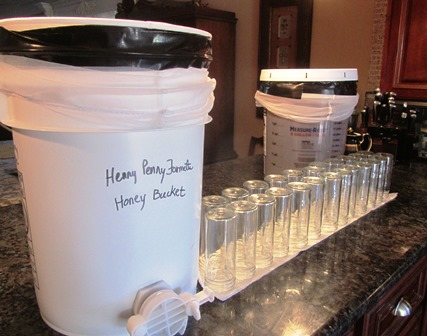 This five-gallon honey bucket will fill approximately five dozen eight-ounce jars