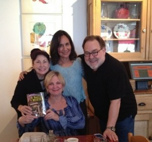 Seated is Paula Munier, literary agent with Talcott-Notch. L to R: Meera Lester, Indi Zeleny, and John Waters.