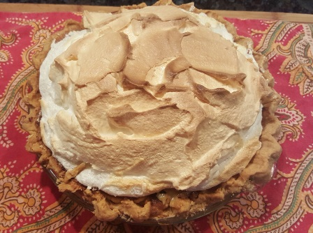 "Crust and ""mile-high"" meringue finish off this old fashion vinegar pie that tastes like lemon"