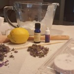 Items needed for soap-making; use the lemon only for zest  in the soap, if desired